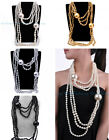 Attractive Fashion 6 Layered Shine Pearl Beads Chain Bib Pendant Party Necklace