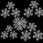10 Pack White Snowflake Charms Decor Ornaments Applique 5 Size Christmas Supply