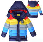 Kid Coat 3-6Y Boys Girls Clothes Winter Coat Rainbow Down Jacket Outerwear G021