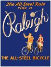 7978.Raleigh.The all steel bicycle.couple riding bikes.POSTER.art wall decor