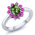 1.35 Ct Oval Green Tourmaline Pink Sapphire 925 Sterling Silver Ring