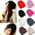 Fashion 7 Colors Warm Winter Women Cute Beret Braided Baggy Beanie Hat Ski Cap