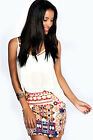 Boohoo Womens Ladies Carrie Aztec Mini Skirt in Multi Colour Stretch Casual New