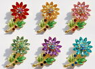 sunshine Multi-color Crystal Charms SUN Flower & Leaves Gold Brooch Pins Gifts