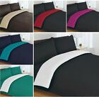 2 TONE DUAL SIDE REVERSIBLE DUVET QUILT COVER & PILLOWCASE SET WITH FITTED SHEET