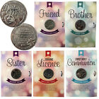 LUCKY COIN GREETING CARD GOOD LUCK COINS ENGRAVED MESSAGE KEEPSAKE GIFT SET NEW