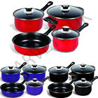 7PC COOKWARE SET STEEL PAN POT CARBON NON STICK SAUCEPAN GLASS LID KITCHEN FRY
