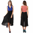 Donna Bella Sleeveless Pleated V Neck Color Contrast Asymmetric Dipped Hem Dress