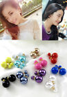 Celebrity Runway Multi-Color Double Pearl Beads Plug Earrings Ear Stud Pin New