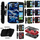 For ZTE Phone Models Rugged Armor Image Dual Hybrid Hard Belt Clip Cover Case