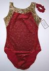 Nwt New Destira Leotard Leo Tank Red Velvet Glitter Gold Dust Hologram Adult