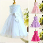 W8910 White Wedding Party Dress Flower Girls Dresses SZ AGE 2 3 4 5 6 7 8 10 12Y