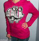 NWT METAL MULISHA Pink GLITTER BOW Lace SKULL Hooded Sweatshirt HOODIE S or XL
