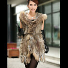QD5932 Genuine Knitted Rabbit Fur Vest with Raccoon Fur Hoody Winter long Vest