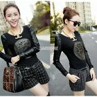 Warm PU Leather Splicing  Blouse Tops Womens Long Sleeve Crew Neck Shirt Tees EA