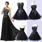 2015 STOCK Vintage Long/Short Peacock Evening Prom Formal Party Bridesmaid Dress