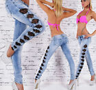 Sexy Womens Skinny Washed Denim Jeans Open Bow Sides inc Lace Size UK 8 10 12 14