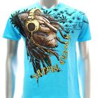 a13u M L XL XXL Artful T-shirt Tattoo Lion King Wild Headphone Blue Tee Men Rock