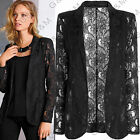 Black Lace Blazer Jacket Coat Casual Party Top Long Sleeve Womens Ladys S-XL N1