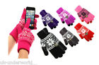 Ladies Mens Fairisle Aztec Touch Screen Smart Knitted Gloves Adults Winter Warm