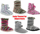 New Womens Girls Funky Knitted Fur Warm Lined Cosy Slippers Booties Size 3-8 UK