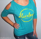 New HURLEY LOGO 3/4 Sleeve Teal COLD SHOULDER Top Shirt CHOOSE S M L