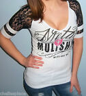 New METAL MULISHA MAIDENS White or Red & Black LACE Football T Shirt Top Small S