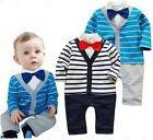 Baby Boys Striped Bow Tie One-Piece Romper Pants Jumpsuit Playsuit 3-18M Outfit
