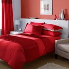 Catherine Lansfield Heat Seal Red Satin Pleated Duvet Quilt Cover Bedding Set