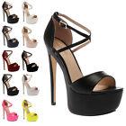 LADIES STRAPPY BUCKLE WOMENS OPEN TOE STILETTO HIGH HEEL SANDAL SHOES SIZE 3-8