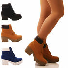 LADIES WOMENS CHUNKY ANKLE BOOTS LACE UP CASUAL PLATORM COMBAT SHOES SIZE