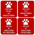 Keep Calm My Dog Airedale Terrier Square Fridge Magnet 4 Different Designs