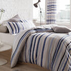 Catherine Lansfield Knitted Stripe Nautical Blue Duvet Quilt Cover Bedding Set