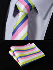 "TS257K7 Pink Green Stripe 2.75"" Slim Skinny Narrow Tie Necktie Pocket Square"