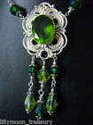 Gothic Victorian  style glass crystal necklace pagan ethnic goth emerald green 1