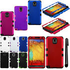 For Samsung Galaxy Note 3 N9005 N9000 Impact TUFF HYBRID HARD Case Cover + Pen