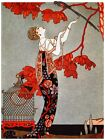 9438.Woman in dress stands under tree with bird..POSTER.decor Home Office art
