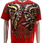 a64r Artful T-shirt Sz M L XL XXL Tattoo Skull Knight Fighter Demon Present Men