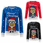 Ladies Novelty Knitted X-Mas Cute Cheeky Minion Christmas Party Jumper Top