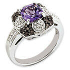New .925  Sterling Silver Amethyst and Smokey Quartz & Diamond Ring Choose Size