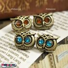 Retro Vintage Bronze Crystal Rhinestone Big Eyes Owl Ear Stud Earrings