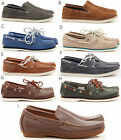 MENS TIMBERLAND LEATHER CASUAL SLIP ON LACE BOAT DRVING LOAFERS BROWN SHOES SIZE