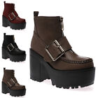 Womens Buckle Zip Platform  Ladies Chunky Loafers High Heel Ankle Boots Size 3-8