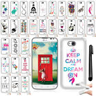 For LG Optimus L70 MS323 Art Design SILICONE SKIN Case Phone Cover + Pen