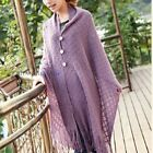 Women Lady Fringe Tassel Shawl Knitted Cape Poncho Coat Jacket Stole Scarf Wrap