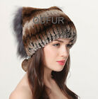 womens genuine rex rabbit fur hats fashion winter warm crochet hat cap earflap