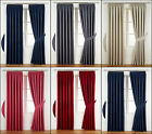WOVEN BLACKOUT TAPE TOP CURTAINS (PAIR) - TIEBACKS AND CUSHION COVERS AVAILABLE