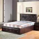 New - GFW Hollywood Crystal Gas Lift Bed - Faux Leather - 3ft/4ft6/5ft