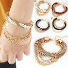 Womens Cute Handmade Gold Chain Braided Rope Multilayer Bracelet Lots Style