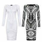AJ44 Ladies Celeb Kim Inspired Glitter Tribal Aztec Print Womens Bodycon Dress